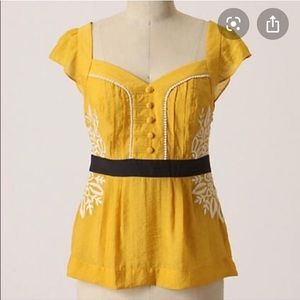 Anthropologie Yellow Floreat Embroidered Top
